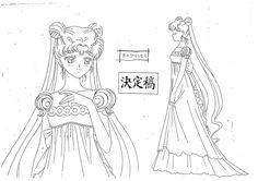 "Character reference model sheet (settei) of Princess Serenity (Usagi Tsukino) from ""Sailor Moon"" series by manga artist Naoko Takeuchi."
