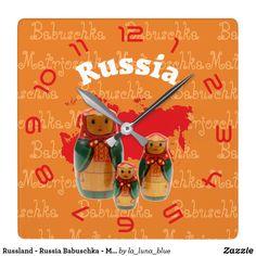 Russland - Russia Babuschka - Matrjoschka Wanduhr Wall Clocks, Christmas Ornaments, Holiday Decor, Home Decor, Matryoshka Doll, Russia, Clock, Birthday, Weddings