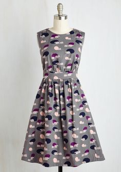 Too Much Fun Dress in Polar Bears. Theres no such thing as overloading on fun - but if it were possible, why not go all-out in this A-line dress? #multi #modcloth