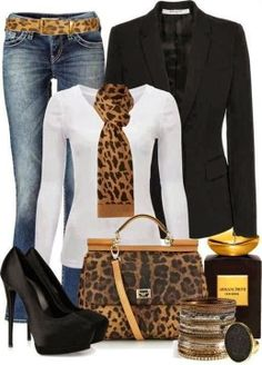 Cheetah Scarf, Cheetah Style Belt, Black Blazer, Handbag and High Heel Sandals Work Outfit