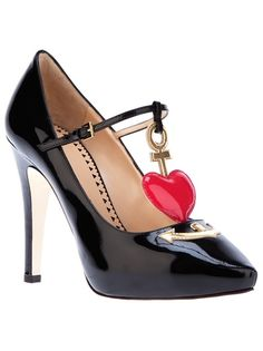 Moschino Cheap & Chic heart detail patent pumps, Hearts and anchors are a  great way to instantly give a shoe a nautical feel, but although thes