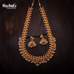 Antique Traditional Jewellery Long-Hara Necklace, Studded with Pearls & Synthetic stones. Made in Copper Alloy.
