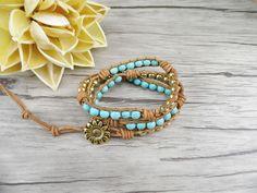 turquoise beads Leather wrap Bracelet blue beaded Wrap
