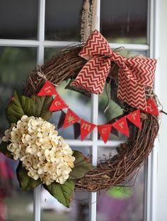 Christmas Grapevine Wreath w/ Chevron bow & hydrangeas on Etsy, $40.00