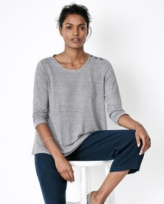 Poetry Striped linen jersey top
