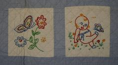 Embroidered Kewpie Quilt: Circa 1930; Pa.