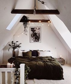 White walls a frame house bed room master wood accent dark lights plants love dream