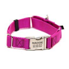 Rita Bean Engraved Buckle Personalized Martingale Style Dog Collar - Nylon Webbing (Raspberry)