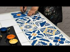 How to Stencil a Mexican Talavera Tile Table - DIY Project Tutorial                           | Royal Design Studio Stencils