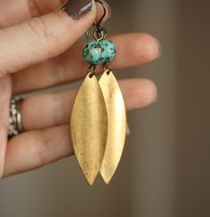Pretties...gold/turquoise combo. Vintage Brass Leaf Earrings by WishByFelicity