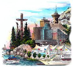 Vancouver, British Columbia, Canada by Artist Illustrator David Crighton Art