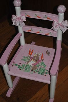 MAKE A LITTLE GIRLS NURSERY SOMETHING SPECIAL  Hand painted childrens rocking chair. Solid wood construction with hand painted wooden finials and