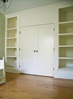 Post shows how they turned a room in a 1911 house with no closet into this awesome closet/bookshelf built-in combination.  This post actually shows before and after renovation shots of the whole house--very inspiring.
