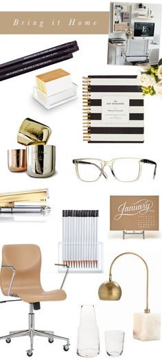 Bring it Home :: Design Your Day Stylish Desk Necessities // based on our editor Lampert Moss desk // Camille Styles Home Office Space, Home Office Design, Home Office Decor, House Design, Home Decor, Office Chic, Gold Office, Desk Space, Office Spaces