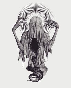 This artwork by is beautiful 😍😍 Arte Horror, Horror Art, Dark Art Drawings, Tattoo Drawings, Art Noir, Dark Art Tattoo, Creepy Tattoos, Beautiful Dark Art, Satanic Art