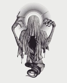 This artwork by is beautiful 😍😍 Arte Horror, Horror Art, Tattoo Sketches, Art Sketches, Dark Art Tattoo, Creepy Tattoos, Satanic Art, Beautiful Dark Art, Evil Art