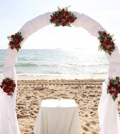 2014 red roses beach wedding arch, white chiffon beach wedding arch.