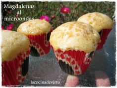 Magdalenas al microondas Cheese Muffins, Flan, Nutella, Microwave, Bakery, Brunch, Buffet, Sweets, Cooking