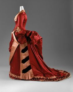 Crimson Silk Evening Dress, ca. 1880s Now THAT'S a bustle!