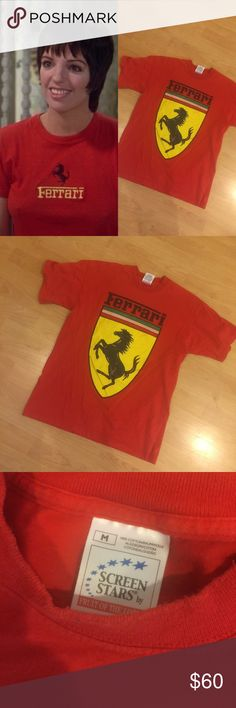 [Vintage] •Ferrari Tee• Awesome Vintage Ferrari T-Shirt. Some fading in front image. Good vintage condition! 100% Cotton. Size M. Will fit XS-M. Vintage Tops Tees - Short Sleeve
