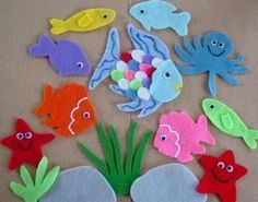 Rainbow Fish Children's Flannel Board Felt Set by FunFeltStories
