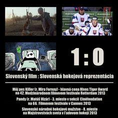 Slovenský film : Slovenská hokejová reprezentácia = 1 : 0