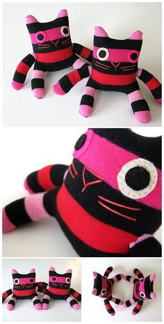 sock kitties. These and the monsters are my first sewing project of the summer.  I first saw these giant monsters on Etsy for sell for $150!  So I'm so so happy to find this so I can copy these and make some for my baby girl!