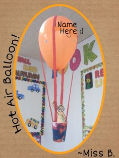 Hot Air Balloon craft - I let the kids each choose a colored balloon, wrote their name on it in permanent marker, then let them decorate it with stickers. For the baskets, I cut out a peice of white paper that would fit around a Dixie Cup and let the kids pick 3 bingo stampers to color it with, then glued it around a cup. I also drew a stick-figure-ish person for them to color with crayons. Last, they chose a color of streamer for the strings. I cut it into fourths lengthwise, crossed two…