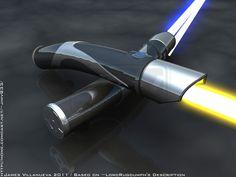 What I like about this lightsaber pair is the choice to use two clearly different blade colors for an otherwise identical hilt. Hilt design looks 3-D modeled and quickly done. Lightsaber Design, Lightsaber Hilt, Star Wars Light Saber, Star Wars Episodes, Star Wars Characters, Jedi Knight, Clone Wars, Sith, Star Wars Timeline