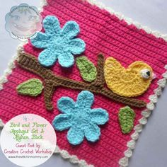 Bird and Flower Applique Set and Afghan Block . ﻬஐCQஐﻬ #crochet