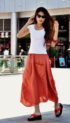 Lagenlook Maxi Skirt in Orange Two Big Pockets by Sophiaclothing, $59.99