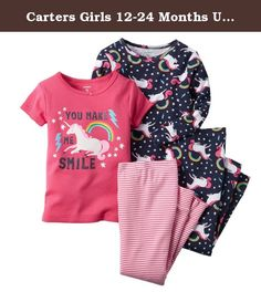 Carters Girls 12-24 Months Unicorn Rainbow 4-Piece Pajama Set (24 Months). Note: To help keep children safe, cotton pjs should always fit snugly. With fun prints on soft cotton, these 4-piece pjs are perfect for weekend trips. -- 4-piece set -- Short & long sleeves -- No-pinch elastic waistbands -- Ribbed cuffs -- Screen-printed graphic -- Allover print -- Cotton pjs are not flame resistant. To help keep children safe, cotton pjs should always fit snugly. -- 100% cotton rib -- Imported --...