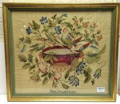 Antique Needlepoint Birds Flowers Urn Beadwork 1843 Signed Susan Tatem