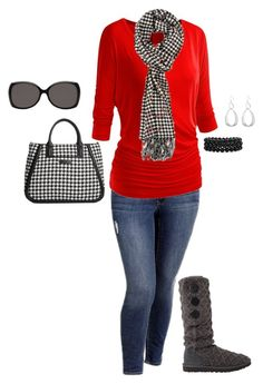 """Plus Size Fall Outfit, Gameday Outfit"" by jmc6115 ❤ liked on Polyvore featuring Old Navy, UGG Australia and Vera Bradley"