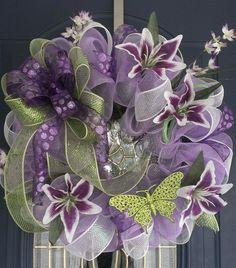Purple Deco Mesh Wreath | winter mesh wreaths | spring, deco, mesh, wreath, summer, lavender ...