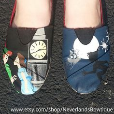 Off To Neverland Hand Painted Disney Shoes by NeverlandsBowtique, $30.00