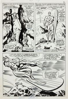 "This page of Silver Surfer original art by Jack Kirby and Joe Sinnott (script by Stan Lee, letters by Sam Rosen), from October 1966′s Fantastic Four #55 (""When Strikes The Silver Surfer""), sold in 2012 for $155,350 in an auction of vintage comic art. The piece was signed by Stan Lee during a 1983 comic convention."
