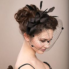 Wedding Headdress Feather Bowknot Net Mesh Fascinator Hair Clip and Cocktail Hat Black -- Check out the image by visiting the link.