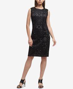 f7076f3fafce DKNY Lasercut   Mesh Sheath Dress