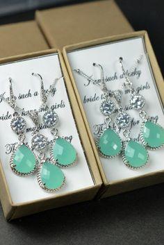 Mint opal green gold /silver NECKLACE EARRINGS set ,Bridesmaid Wedding Bridal Bridesmaid Jewelry-Bridesmaid gifts,Tiffany Blue , mint aqua