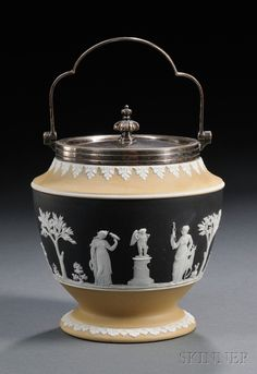 Wedgwood Three-color Jasper Dip Biscuit Barrel, England, late 19th century