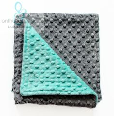 AQUA  GRAY Minky Baby Blanket  Baby Minky Blanket Charcoal by OnTheGoDesigns, $35.00.  Love the colors