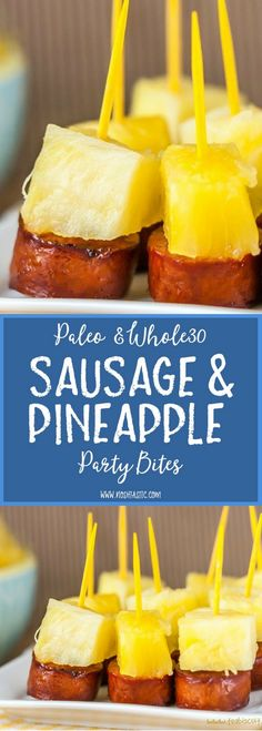 Looking for super easy Paleo or party foods? This … Looking for super easy Paleo or party foods? This Sausage and Pineapple appetizer is super easy to make and can be paleo and with a compliant sausage. Paleo Appetizers, Quick And Easy Appetizers, Finger Food Appetizers, Appetizer Recipes, Sausage Appetizers, Sausage Party, Sausage Recipes, Easy Fingerfood Recipes, Dairy And Gluten Free Appetizers