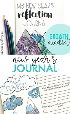 Help students reflect on the past year and set goals for the new one using a growth mindset with this New Year's Journal. Low-prep + meaningful = the perfect activity coming back from break! #growthmindset #teaching