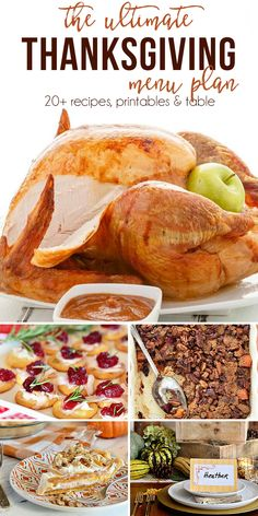 The Ultimate Thanksgiving Menu Plan from make-ahead slow cooker turkey and pecan topped sweet potatoes to cranberry appetizers and pumpkin creme brulee. You'll find family-favorite Thanksgiving recipe Thanksgiving Dinner Menu, Free Thanksgiving Printables, Thanksgiving Appetizers, Thanksgiving Sides, Thanksgiving Recipes, Fall Recipes, Holiday Recipes, Thanksgiving Traditions, Thanksgiving Activities