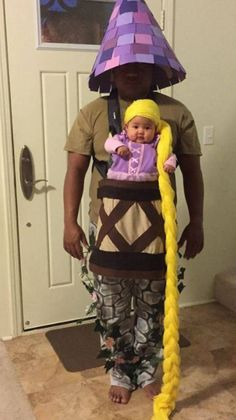 Rapunzel Baby and Dad Tower Halloween Costume Funny Cute, The Funny, Hilarious, Funny Dad, Costume Halloween, Infant Girl Halloween Costumes, Reddit Halloween, Infant Costumes, Family Costumes For 3