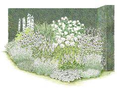 """Ein Traum in Weiß ist das Rosenbeet """"Brautzauber"""". Die beliebteste weiße Strauchrose, """"Schneewittchen"""", bildet den Mittelpunkt dieses Arrangements. Sie ist ausgesprochen reichblütig und zeigt ihre edel geformten Blüten oft noch im..."""