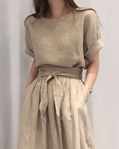 Fashion trendy fashion outfits dresses minimalist fashion pretty outfits the pretty summer trend everyone is already googling fashion nyfw s latest street style is far too good to miss Mode Outfits, Dress Outfits, Fashion Dresses, Beige Dress Outfit, Neutral Dress, Beige Dresses, Dresses Dresses, Linen Dresses, Dress Casual