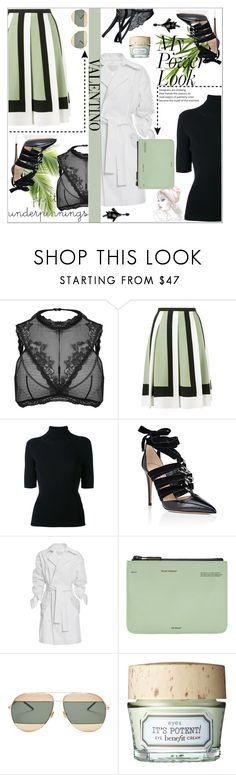 """Designer Set: Valentino"" by dani-elan ❤ liked on Polyvore featuring Valentino, Genny, Off-White, Christian Dior, Benefit, Oscar de la Renta, valentino, geometricskirt and prettyunderpinnings"