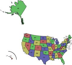 State Abbreviations Map Lower 48 States Alaska And Hawaii